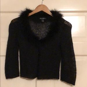 Black Betsey Johnson sweater with mohair trim